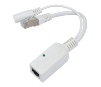 Mikrotik RBGPOE Gigabit PoE adapter with shielded connectors, supports 9-48V PoE