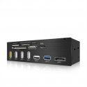 Icy Box 5.25'' Card Reader With Multiport Panel, 60 Card Types, USB 3.0, eSATA