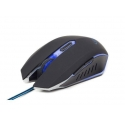 Gembird gaming optical mouse 2400 DPI, 6-button, USB, black with blue backlight