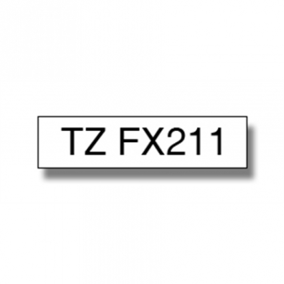 Brother TZ-EFX211, 6mm black on white flexible tape