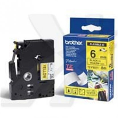Brother TZ-EFX611, 6mm black on yellow flexible tape