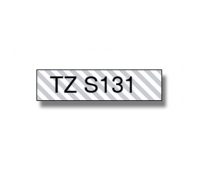 Brother TZe-S131, Strong 12mm black on clear flexible tape